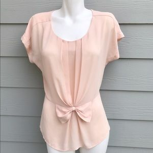 Tops - Peach Nude Silk Blouse With Bow